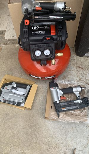 Porter-Cable 6 Gal. 150 PSI Portable Electric Air Compressor, 16-Gauge Nailer, 18-Gauge Nailer and 3/8 in. Stapler Combo Kit (3-Tool) for Sale in Bakersfield, CA