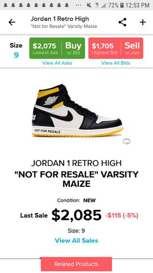 Jordan 1 not for resell size 9 ds for Sale in Ashland, MA