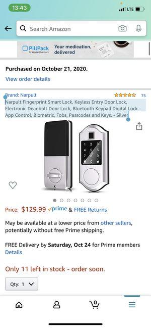 Narpult Fingerprint Smart Lock, Keyless Entry Door Lock, Electronic Deadbolt Door Lock, Bluetooth Keypad Digital Lock - App Control, Biometric, Fobs, for Sale in Staten Island, NY