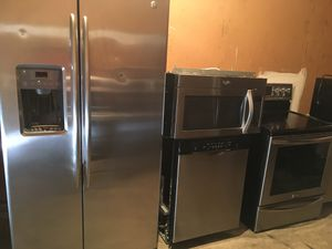 Stainless steel fridge stove microwave dishwasher excellent working condition cheap price for Sale in Winter Park, FL