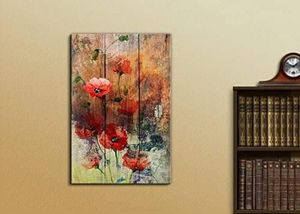 ((FREE SHIPPING)) watercolor poppy flowers over wood panels - nature - canvas art home decor Painting like print for Sale in Greenwich, CT