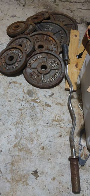 "Barbell standard weights 2"" w/bar $200 need cleaning solid weights 240 lbs.. for Sale in Houston, TX"