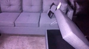 Grey, brown fabric sectional couch for Sale in US