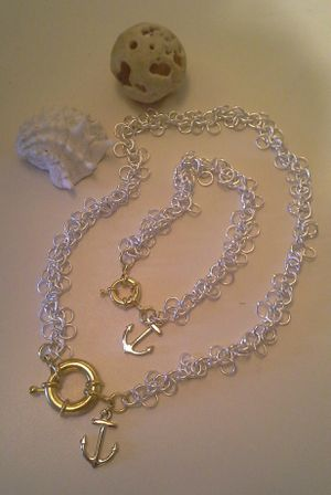 Elegant two tone set of silver plated necklace with bracelet. for Sale in Auburndale, FL