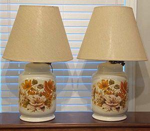 Vintage Antique Mid Century Modern MCM Ceramic Pair Of Porcelain Ginger Jar Floral Table Lamp for Sale in Chapel Hill, NC