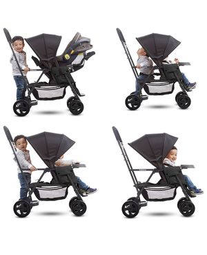 Joovy Caboose Black Double Stroller with Back Attachment and Infant Car Seat Attachment for Sale in Richmond, VA