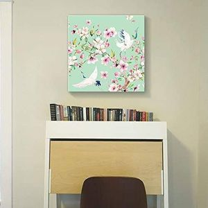 ((FREE SHIPPING)) Square canvas wall art - light green watercolor style painting of a two cranes and blooming tree branch Painting like print for Sale in Palo Alto, CA