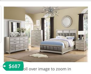 CLOSEOUT LIQUIDATION BRAND NEW FLOOR MODEL QUEEN BEDROOM SET INCLUDES BED FRAME DRESSER MIRROR AND NIGHTSTAND ADD MATTRESS for Sale in Montclair, CA