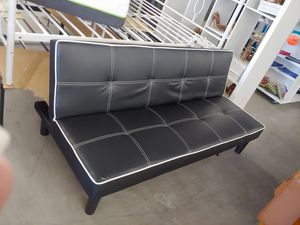 Beautiful baseball leather like black and white futon sofa three position $199.99 others retail this for $258 for Sale in Phoenix, AZ