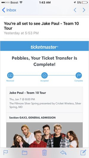 I have five Jake Paul tickets they are mobile tickets I can text them to you the concert is today if anyone's interested for Sale in Glen Burnie, MD