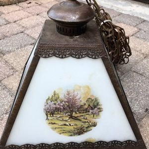 CURRIER IVES HANGING LAMP W/GLOBE 4 SEASONS SQUARE VINTAGE-EUC for Sale in West Palm Beach, FL