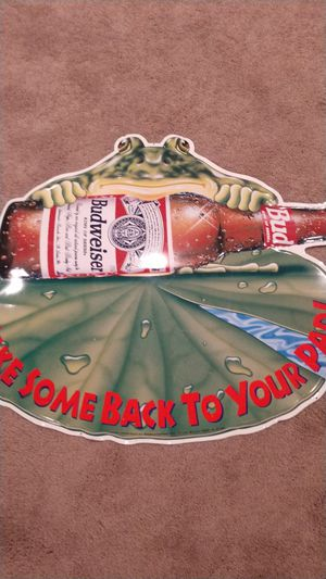 Budweiser frog tin beer sign for Sale in FX STATION, VA