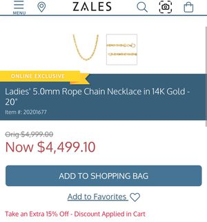 5.0mm rope chain 14k gold necklace for Sale in Puyallup, WA