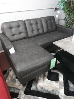 New Gunmetal Leather Sofa Chaise for Sale in Parma Heights,  OH