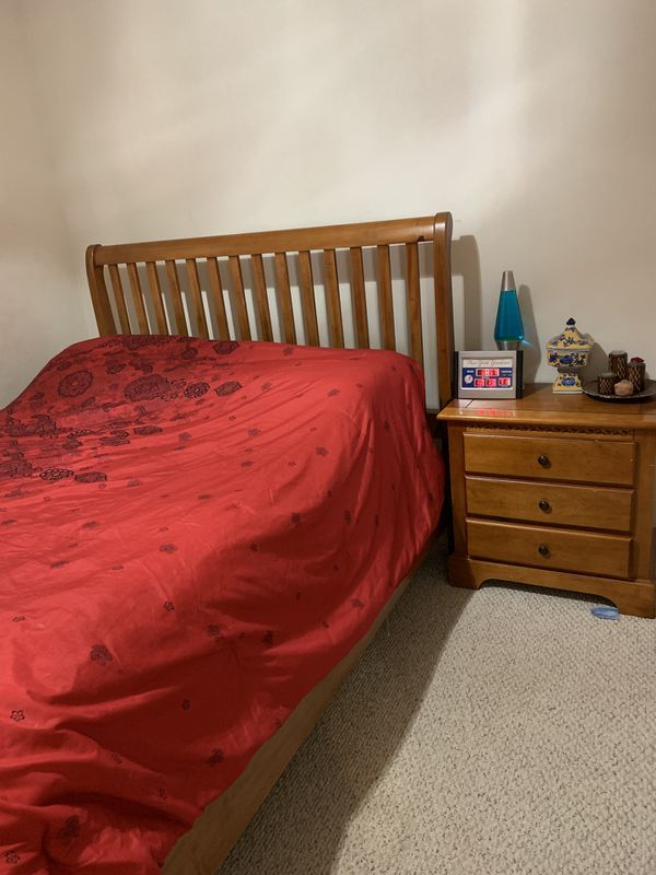 Queen bedroom set includes mattress and box spring, night stand, dresser, and tv