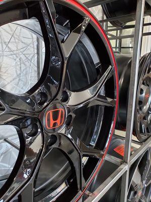 "18"" honda type r style wheels fit civic accord crv black red strip 5x114 rim wheel tire shop for Sale in Tempe, AZ"