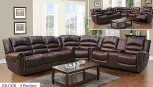 New baseball stitch brown bonded leather reclining sectional couch with wedge for Sale in Renton, WA