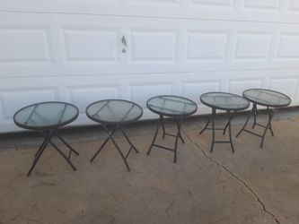 "$15 each Small 18"" inch pebbled glass metal diameter indoor outdoor folding cocktail side tables for Sale in Covington,  GA"
