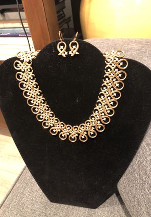 Vintage Costume Gold/Diamond Choker Necklace, Bracelet and Earring Set for Sale in Los Angeles, CA