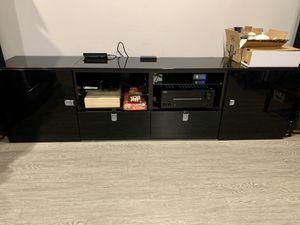 IKEA BESTÅ Custom TV Storage Unit w/ Glass Top and Felt-Lined Drawers for Sale in Lynnwood, WA