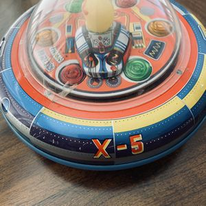 Vintage Rare Space Ship X-5 Tin Toy UFO Taiwan MT Trademark 1960's for Sale in Spartanburg, SC