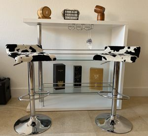 Cow print modern swivel bar stools with adjustable height, foot rest and stainless steel base for Sale in North Miami Beach, FL