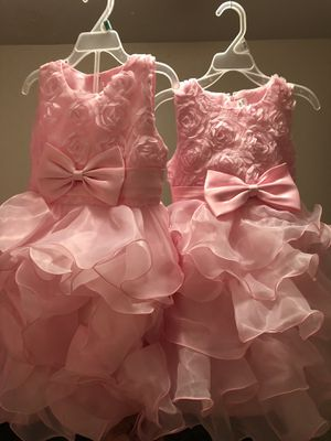 Little Girls Pink and floral party or wedding dresses (2) for Sale in Baton Rouge, LA