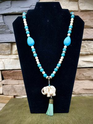 Long turquoise beaded necklace. Handmade jewelry inspired by me for Sale in San Bernardino, CA