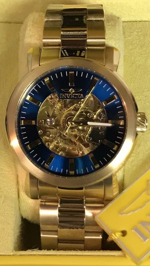 Gold Invicta Men's 45mm Skeleton Blue Dial Stainless Steel Watch for Sale in Buena Park, CA