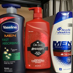 Old spice body wash 30onz , h&s & vaseline men all for $15 for Sale in Perris, CA