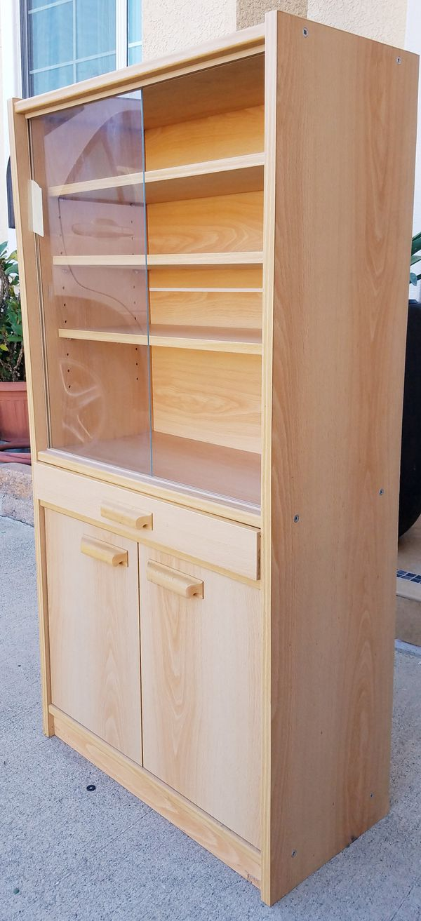 EXCELLENT CONDITION Petite China Display Bookcase Bookshelves Curio Pantry Kitcken Bath Bathroom Storage Cabinet Unit + Shelves + Drawer INCLUDED