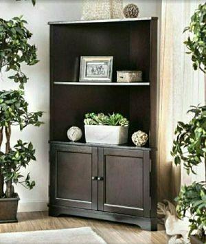 Wood Corner Bookcase shelf unit in Espresso Finish for Sale in Riverside, CA