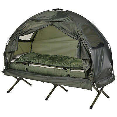 Single Portable Camping Tent Bed Cot w/Sleeping Bag Air Mattress Outdoor Use