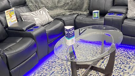 Brand New Black Leather Sectional Sofa With USB Plugs And LED lights . $49 Down No Credit Needed Financing for Sale in North Richland Hills,  TX