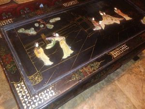 Vintage handmade Oriental coffee table with folding legs Jade Pearl inlay good condition 675 for Sale in Houston, TX