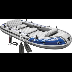 12 Ft Intex Excursion Inflatable Boat w/trolling Motor for Sale in Canyon Country, CA