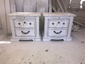 Pair of solid wood farmhouse cottage shabby chic rustic vintage French provincial country nightstands end side tables bedside for Sale in Southlake, TX