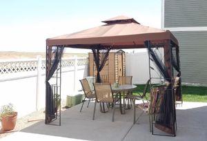Free Ship- Outdoor Metal Gazebo Bug Netting Screen Canopy Backyard Sun Shed Shade 4 Patio Table Set for Sale in Watertown, MA