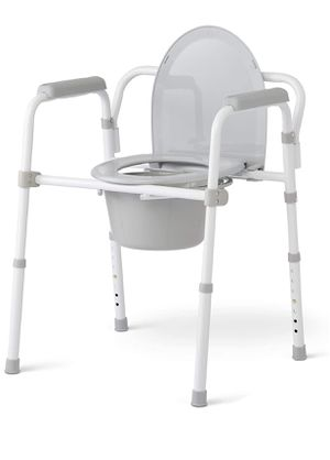 Medline 3-in-1 Steel Folding Bedside Commode, Commode Chair for Toilet is Height Adjustable, Can be Used as Raised Toilet, Supports 350 lbs for Sale in Porter Ranch, CA