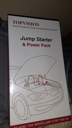 Jump Starter, TOPVISION 2200A Peak High Capacity Car Power Pack with USB Quick Charge 3.0 NEW for Sale in Hayward, CA
