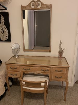 Vintage Handmade Vanity with Chair and Mirror for Sale in Santa Ana, CA