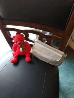 Valentine's gifts. Small Handbag With Red Retired Beanie Baby. Both For $4. for Sale in Redmond,  WA