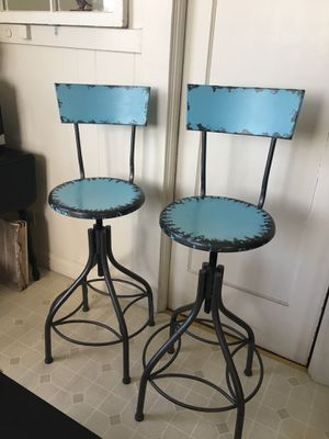 Pair of metal bar stools $175 ~ vintage looking ~ blue for Sale in San Francisco, CA