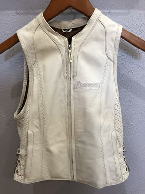 motorcycle white iCON leather vest XS ladies for Sale in Spring, TX