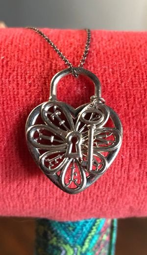 Tiffany & Co / Silver filigree Heart Key Hole Necklace pendant charm for Sale in New York, NY
