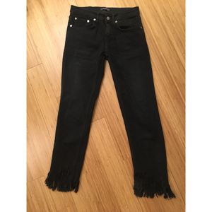 Zara fringe jeans black size 26 for Sale in New York, NY