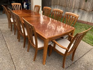 Solid wood dining table with 2 leaves and 10 extra wide chairs for Sale in Roseville, CA