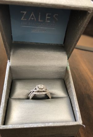 Size 6 1/2 Ct 10K White Gold Engagement Ring & Wedding Band for Sale in West Palm Beach, FL
