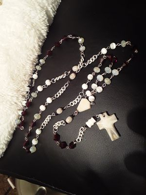 White/deep red rosary for Sale in Denver, CO