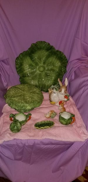 Rabbit Tea Pot, Leaf Platter, Cake stand......... for Sale in Victoria, VA